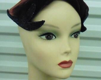 40s-50s Brown Velvet w/ Blue Beaded Wings Hat NWT