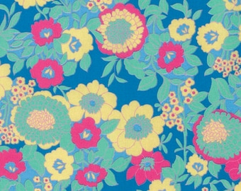 SALE Fabric, Floral Fabric, Hotel Frederiksted, Jennifer Paganelli Fabric, Mabel in Blue, Floral Quilting Fabric, Pink & Yellow