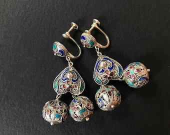 Vintage Sterling Silver Enamel Filigree Earrings