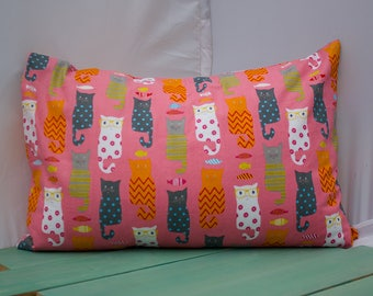 Pink Cats in Glasses Pillowcase - fits 13 x 18 Travel or Toddler Pillow