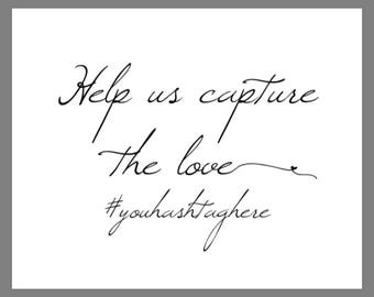 8x10 Help Us Share The Love Personalized HASHTAG Printable Wedding Sign with HEART SWASHES