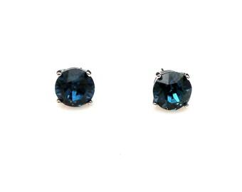 bridal wedding earrings christmas prom bridesmaid gift simple 8mm Swarovski montana navy blue round crystal rhinestone stud rhodium post