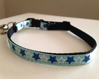 Blue and White Stars Cat Collar