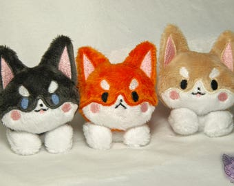 Corgi Beanie Pups - 3.5in OR 5in Beanie Plush - Realistic Colors - Choose Color and Facial Expression