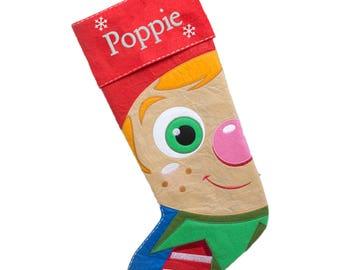 Personalised Christmas Stocking, Elf Xmas Stocking, Embroidered Cubby Stocking