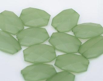 CELERY Green Translucent Acrylic Beads 34 x 24mm - Faceted Flat Slab Nugget Jewel Seafoam Beads - Large Geometric Modern Loose Bead