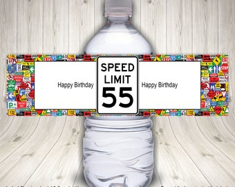 Speed Limit Sign, Water Bottle Label, 55th Birthday, Speed Limit Birthday, Birthday Party, Speed Limit Water, Road Sign Birthday, Printable