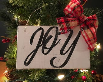 Wood Christmas Ornament - Joy