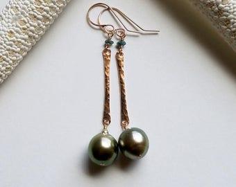 10 mm Tahitian Pearl Drop Earrings, Blue Diamond Dangle, Green Tahitian Pearls, Rose Gold Bar Earrings, Hammered Stick: Ready Made