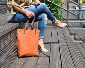 Canvas Schultertasche, Umhängetasche, Damen Tasche, wasserabweisend, Shopper, Handtasche, Laptop Tasche, terracotta, Damen Tasche, für Reise