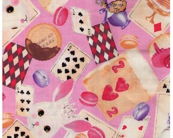 HALF YARD Kobayashi - Alice in Wonderland - Petit Lapin Playing Card Tea Time on Pink  6327C - Tea Cup, Spoon, Hearts - Japanese Import