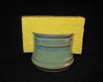 sponge holder in light green, stoneware pottery, dishwasher safe