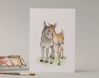 Little in Love. Hand drawn illustration of a donkey and deer. Cute. // bambi // watercolour // drawing // valentines // new baby