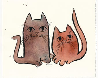 Two Housecats / An Original Watercolor Pet Painting