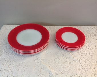 Red and White Milk Glass Sandwich Plates and Dessert Plates Vintage Milk Glass Plates
