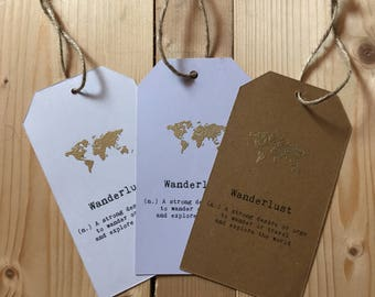 Wanderlust Quote Luggage Tag Bookmark Gold/ Silver/ Rose Gold/ Copper