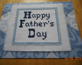 Father's Day Card,shades of blue, Happy Father's Day,cross stitch card,hand made card