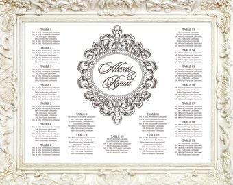 Elegant Victorian Frame Wedding Seating Chart Printable, Classic Wedding Seating Poster, Fancy Wedding Seating Sign, Wedding Seating Board