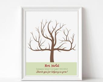 Teacher Gift Print Digital File - Fingerprint Tree Teacher Gift Print - Print at Home - Customize with Teacher Name, School, Year, and Quote