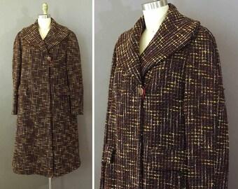 60s Chocolate Tweed Coat - 1960s Vintage Wool Coat - Tweed Brown Pink Yellow Coat - Swing Trapeze Coat w Large Collar - Wool Winter Coat