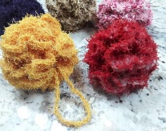 Crochet bath poof, crochet scrubbie, crochet loofah