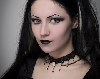 Black and white gothic lace choker necklace stripes steampunk Tim Burton style choker burlesque victorian