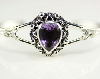 Native American Indian Jewelry Handmade Sterling Silver Amethyst Cuff Bracelet