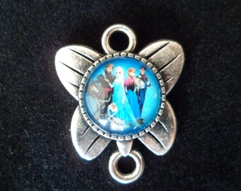 1 pendant Queen of snow Butterfly 25 x 20 mm animated drawings, for little girl