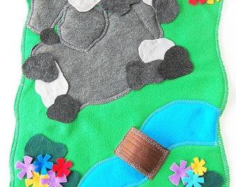 Rocky Land Play Mat -Felt Play Mat With Rocks- Woodland Felt Mat - Doll House Yard