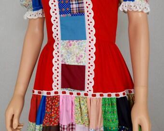 Vintage 1960's 70's NU-U Patchwork Calico Hot Prairie Rich HiPPiE Sexy Festival Summer Western Mini Dress Size M 10
