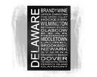 Delaware State 1 Subway Sign Fine Art Print | Modern Chalkboard Typography
