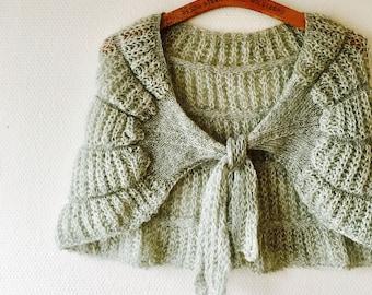 70s boho pastel mint green knit shawl.