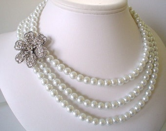Three Strand Large Rhinestone Flower Pendant with White Pearls Beaded Necklace Set   Great for the Bride