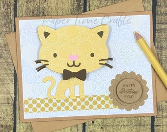 Kitty Bobble Head Action - Birthday Card