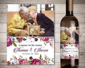 Wedding Anniversary Wine Labels - Personalized Photo Anniversary Wine Label - Custom Wedding Anniversary Wine Label