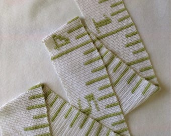Handmade Tape Measure Scarf, Crocheted Tape Measure Scarf, White and Green Scarf