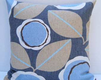 Bold Modern Floral Pillow Cover, Taupe and Blue Throw Pillow, Blue Floral Pillow Cover, 18x18 Floral Cushion Cover, Mid-Century Decor