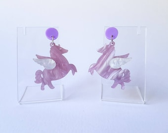 Chubby Pegasus Dangle Earrings, Laser Cut Acrylic Earrings