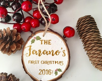 First christmas ornament married just married newlywed custom personalized wedding gift for couple Xmas decor first couple santa ornament