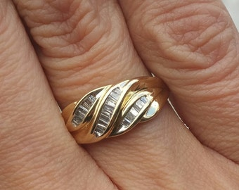 10k Yellow Gold Baguette Diamond Ring