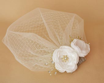 Birdcage Veil, Bridal headpiece, Blusher Veil, Bridal Veil, Wedding Veil, Flower Hair Clip, Wedding Hair Piece, Flower Hair Piece Fascinator