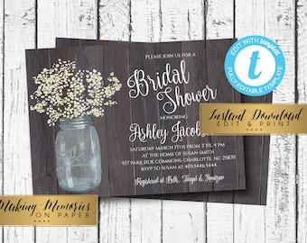 Rustic Mason Jar Bridal Shower Invitation, baby breath, Invitation, baby, Floral Invite, Flower Invite, Marsala, INSTANT, templett