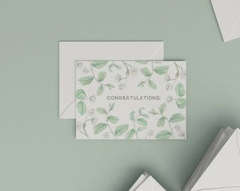 Congratulation card with botanical illustration | Royena lucida | Postcard | Botanical Card | Watercolour | Stationery