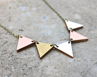Pennant Wood Necklace // Gold and Peach Bunting Necklace // Reversible // Bib Necklace // Wood Necklace // Geometric Necklace