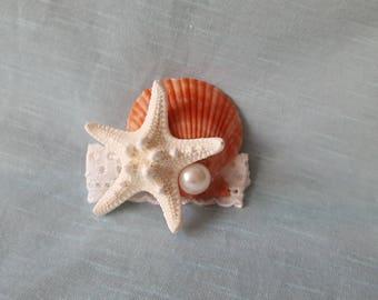Seashell Hairclip with Starfish and Pearl