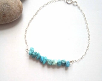 Turquoise Bracelet, December Birthstone, Silver Bracelet, Turquoise Jewellery, Gemstone Jewelry, Blue Turquoise, Sterling Silver Chain
