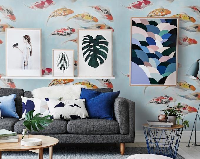 Koi Wallpaper - Japanese Carps Wallpaper  - Watercolor Japanese Wallpaper - Japanese Koi wallpapers