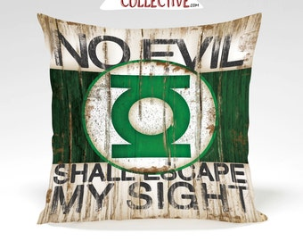 Green Lantern Decorative Pillow - Full Insert or Cover Only -Home Decor, Superhero, Comic, Vintage Art- Green Black