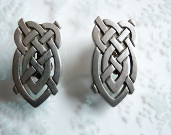 Vintage English Signed Celtic Design Pewter Clip Earrings by LIBERTY of England