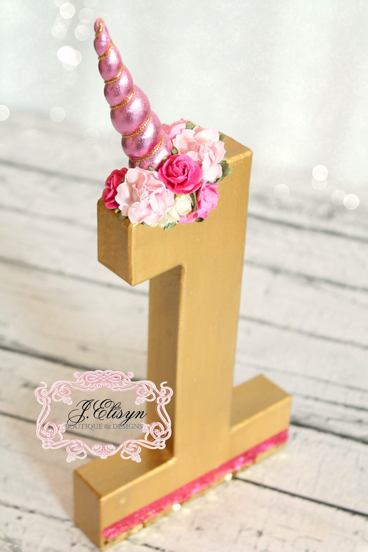 No Or Letter Metallic Gold Unicorn Decor Dark Pink Florals